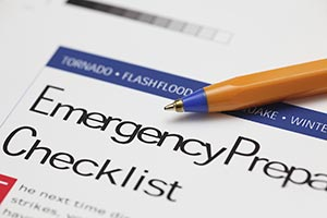 A close-up of an emergency preparation checklist